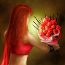 Girl and roses by HENNY PURWADI