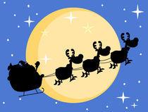 Silhouette Of Santa And A Reindeers Flying In Moon  von hittoon