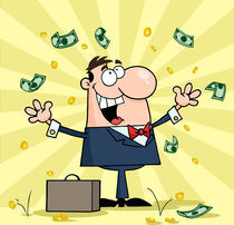 Successful White Businessman Standing Under Falling Money by hittoon