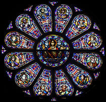 Stained glass window in church by Johan Wouters