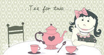 RETRO illustration '' tea for two'' von meri-misljen