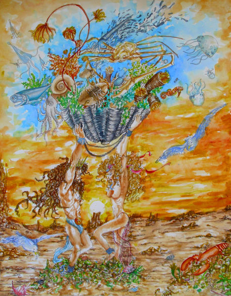 The-sea-in-a-shell-ink-and-watercolors-on-paper-nov-2010