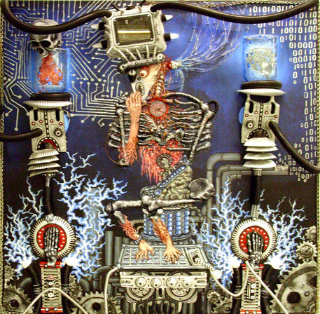 21st-century-schizoid-man-paint-marker-plastic-tubing-styrofoam-paper-cardboard-wire-chains-and-mirror-on-plywood-nov-2010-5-x-5