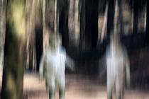 Zwei Kinder im Wald - Poster - Bewegungsunschärfe von Jens Berger