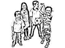 family kids stencil von alexander  pereira mosquera