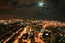 Boston City Skyline Nightshot with Fullmoon - Boston Stadt Vollmond by temponaut