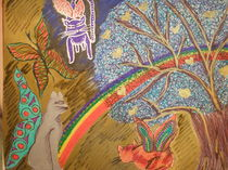 Lulu arriving to the rainbow surrounded by celestial light von Diana YOGA