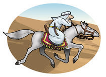 Arabian cavalier in the desert by William Rossin