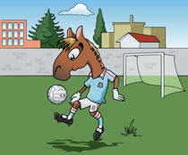 Horse playing soccer by William Rossin