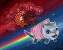 Nyan Cat (Pop Tart Cat) vs. Tac Nayn (Waffle Cat)
