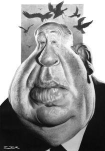Alfred Hitchcock caricature von Eder Galdino
