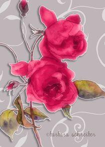 rote rosen auf grauem hintergrund by barbara schreiber