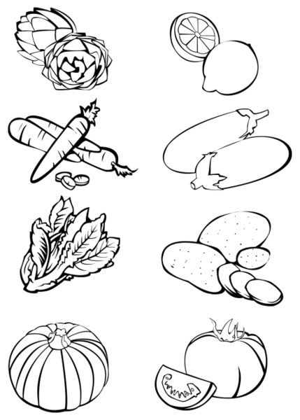 """Eight vegetables - Black and white"" Drawing art prints ..."