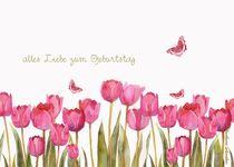 alles liebe zum geburtstag, rosa tulpen und schmetterlinge von barbara schreiber