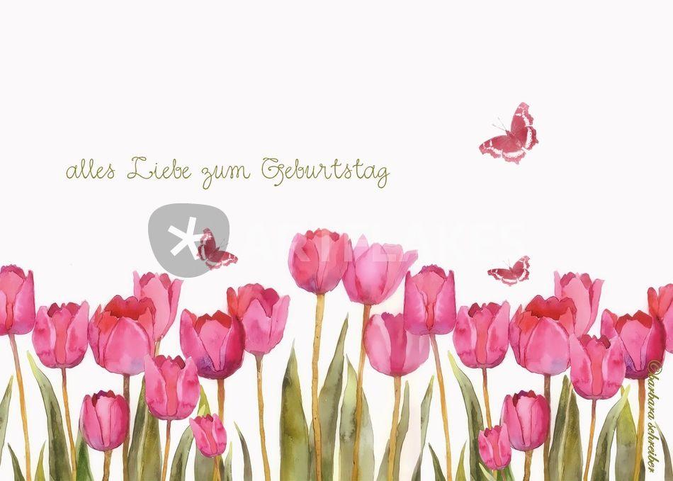 Alles Liebe Zum Geburtstag Rosa Tulpen Und Schmetterlinge Malerei