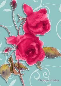 rote rosen auf turkisen hintergrund von barbara schreiber
