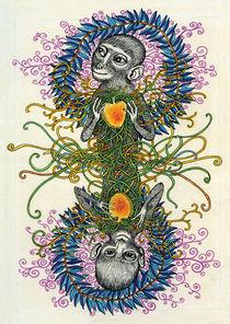 Two of Hearts: Monkeys by Magda  Boreysza