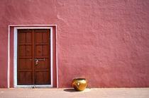 Pink Wall,Door and the Golden coloured Pot von saptak ganguly