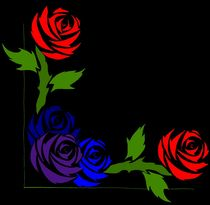 Corner Roses - red to blue by yellowroseoftexas