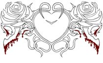 Tribal Heart & Bloody Roses - outline by yellowroseoftexas
