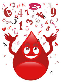 Blood drop and numbers von William Rossin