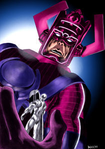 Galactus and the Silver Surfer by Andre Bacchi