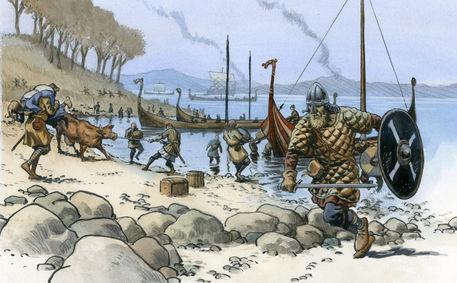 viking raid drawing art prints and posters by christian