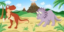 Dinosaurier Tyrannosaurus und Triceratops by Michaela Heimlich