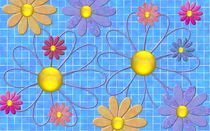 Blue tiles with flowers von Linda Carlile