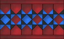 red blue black quilt tiles von Linda Carlile