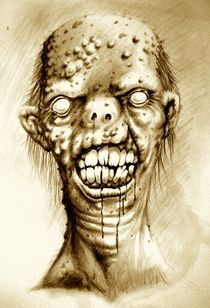 Portrait of an irradiated Zombie with a cleft lip by Danny Silva