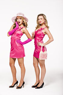 Blonde twins in pink dresses by vito vampatella