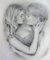 Liebesgeflüster - erotische Zeichnung Liebespaare von Marita Zacharias