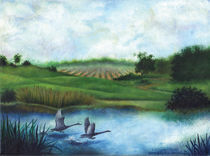 Geese in Flight Over Pond by Julie Ann Stricklin  by Julie Ann  Stricklin