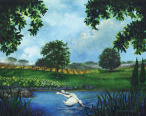 Swan in Flight by Julie Ann Stricklin von Julie Ann  Stricklin