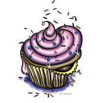 Whimsical Cartoon Cupcake by Julie Ann Stricklin von Julie Ann  Stricklin
