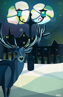 Christmas deer in the city by Victor Antonov