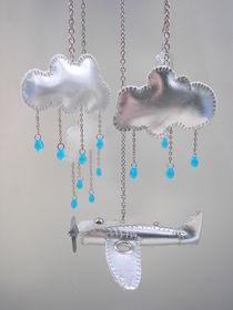 Silver air plane mobile by Anna Freimane