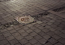 Manhole cover in the setting winter sun by Palle Smith-Petersen