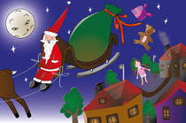 Santa and the toys by Lizza Pulido
