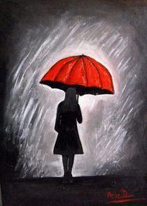 Red umbrella painting von Anca Damian
