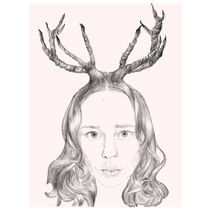 Girl With Horns Of Hair von Karin Idering