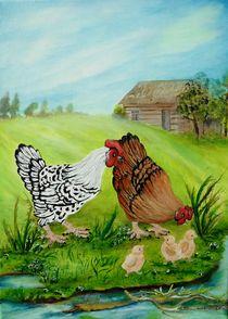 Hühner mit Kücken von G.Elisabeth Willner