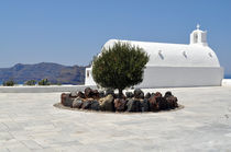 Greek Island Church with Olive Tree by Katerina Vorvi