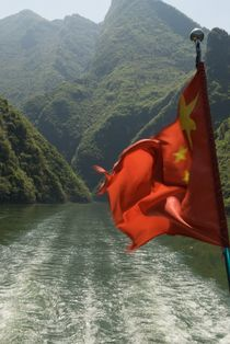 Chinese flag, three gorges by Simeon Jones