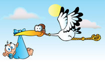 Cartoon Stork Delivering A Baby Boy  by hittoon