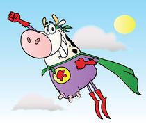 Super Hero Cow Flying To The Rescue  von hittoon