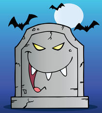 Laughing Tombstone Cartoon Character In Halloween Night  by hittoon