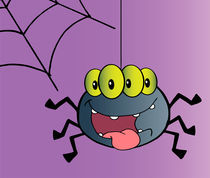 Four Eyed Creepy Spider Suspended From A Web  von hittoon