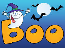 Ghost Wearing A Witch Hat In The Word BOO With Bats On Blue  von hittoon